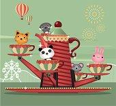 Cute animals having fun at the Amusement park ride. Zip contains AI, PDF and hi-res jpeg.