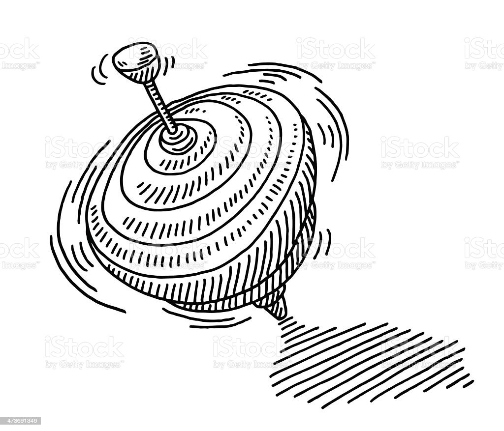 Spinning top toy drawing stock vector art more images of - Toupie dessin ...