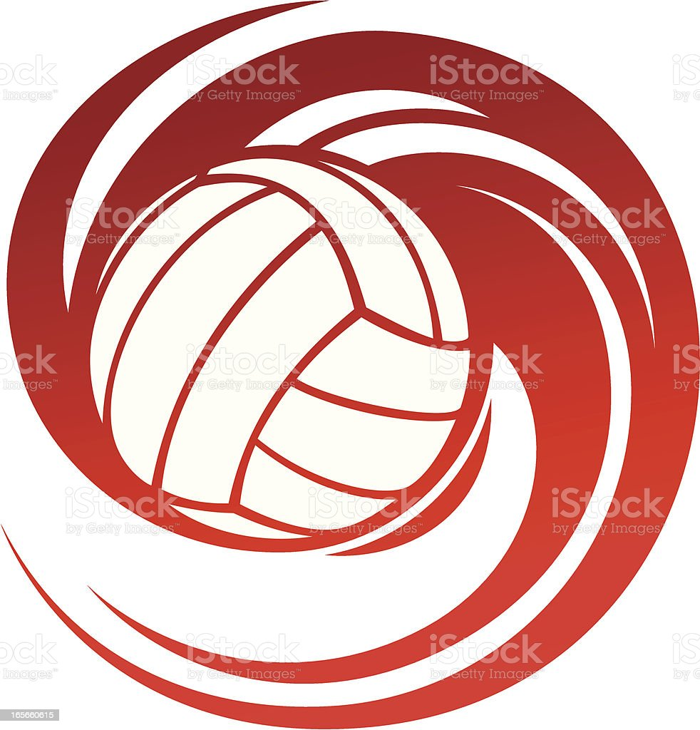 Spinning volleyball vector art illustration