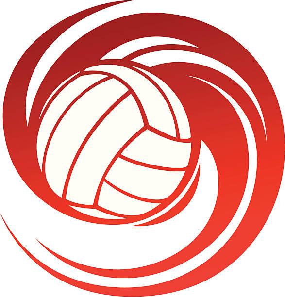 Spinning volleyball vector art illustration