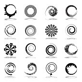 Spiral and rotation design elements.