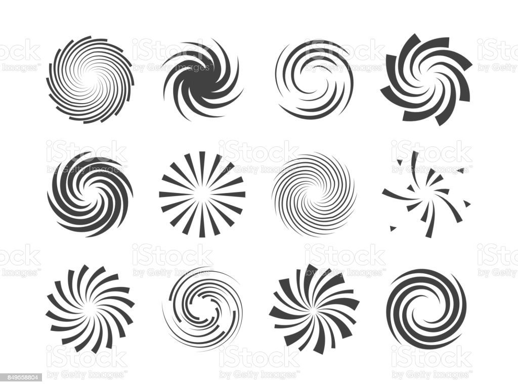Spiral and swirl motion twisting circles design element set vector art illustration