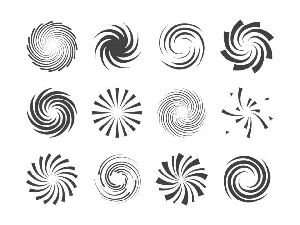 spiral and swirl motion twisting circles design element set - swirl pattern stock illustrations