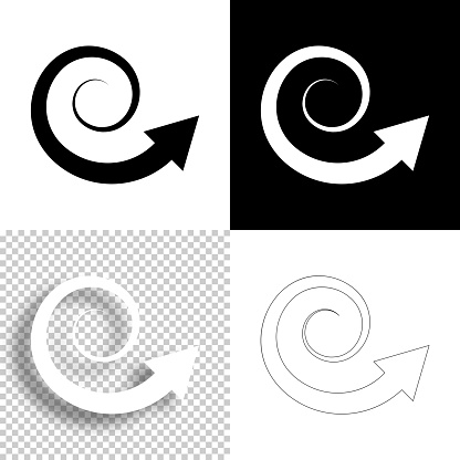 Spiral arrow. Icon for design. Blank, white and black backgrounds - Line icon