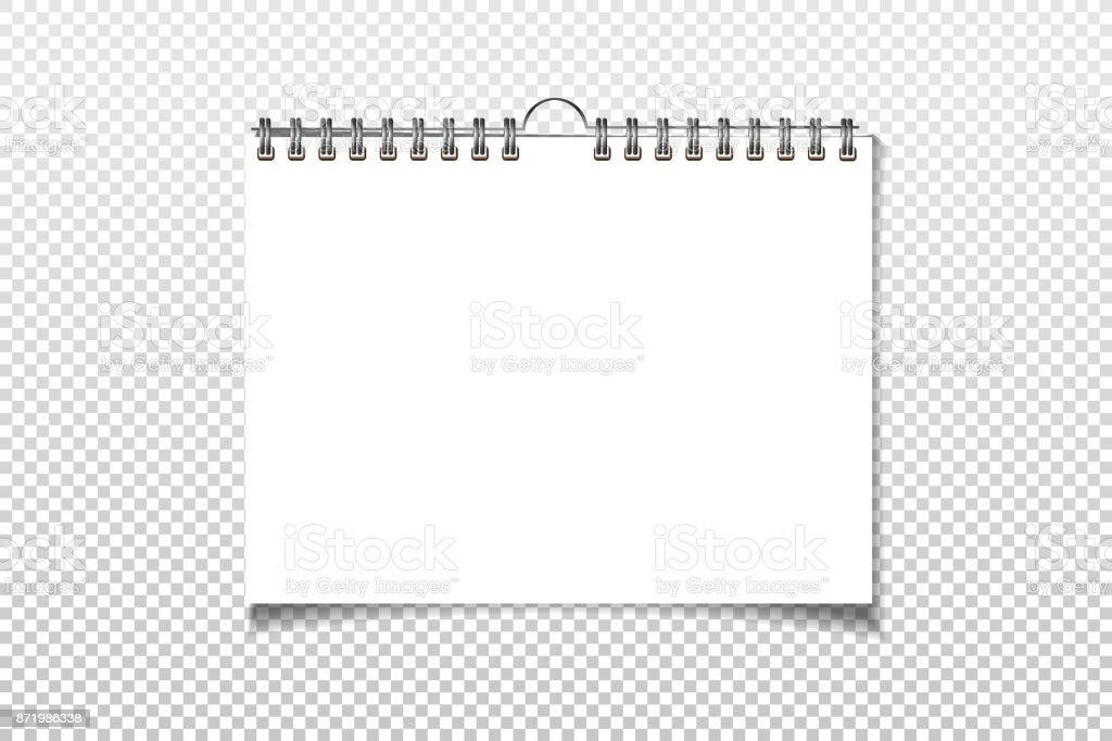 Blank Calendar Vector : Spiral blank wall calendar mock up white sheets of paper