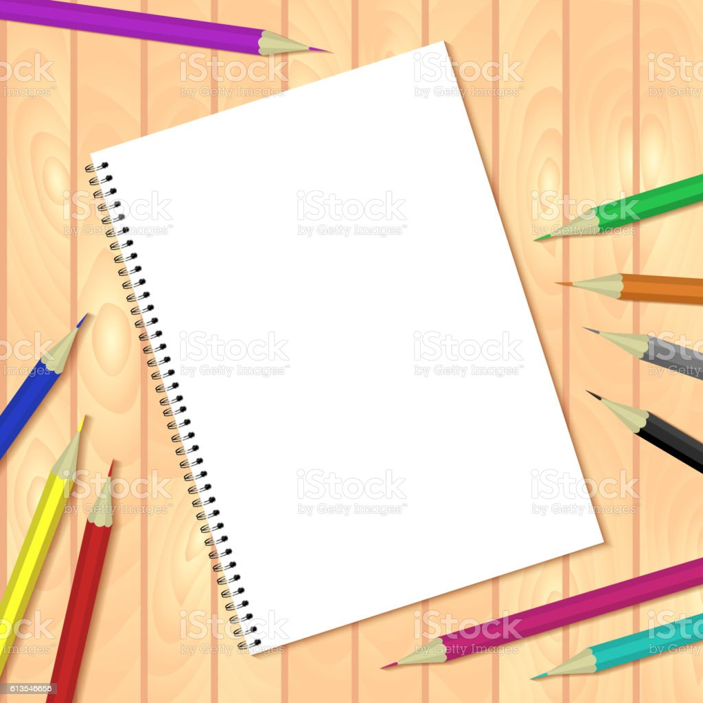 Spiral bound notepads and pen. Vector template or mock up. vector art illustration