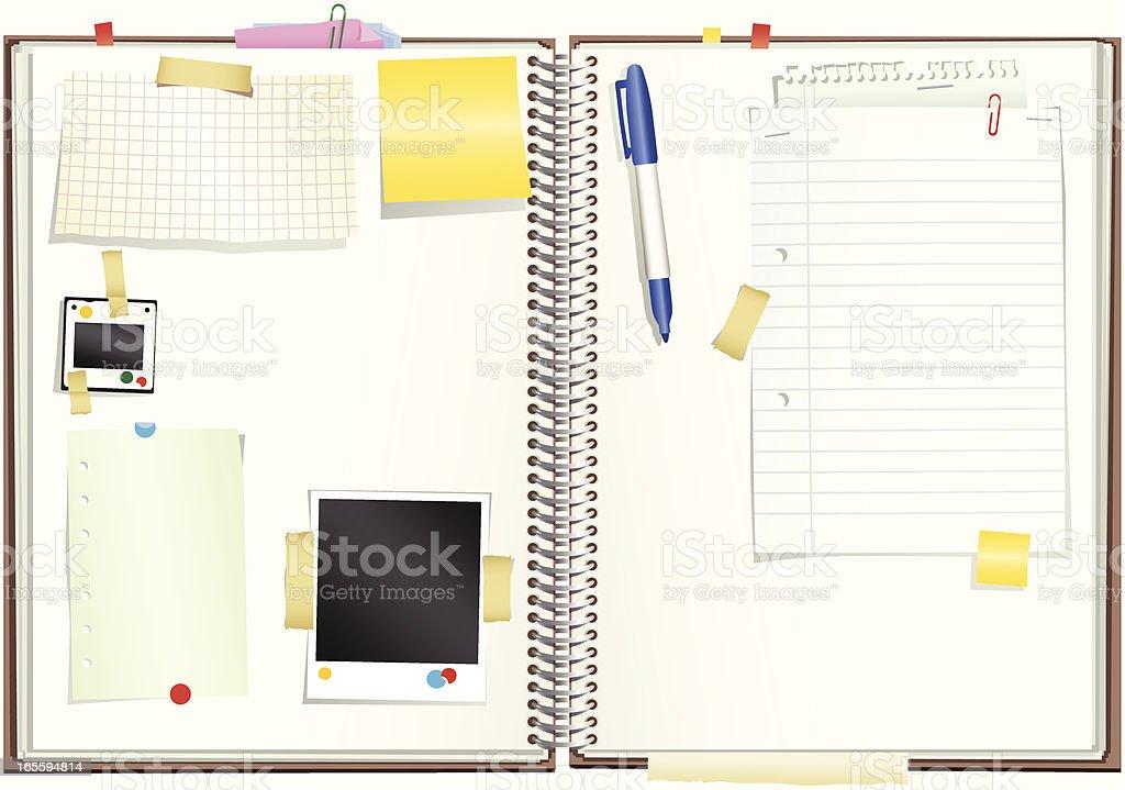 Espiral papel notepaper bloc de dibujo, con dirección ilustración de espiral papel notepaper bloc de dibujo con dirección y más banco de imágenes de abierto libre de derechos