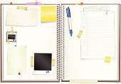 Illustration of a sketchpad with assorted paper, photograph, slide, and pen elements. All elements on top of the sketchpad are isolated and re/movable from each other.