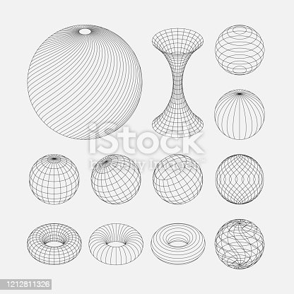 Spiral, circular rotating lines. Wireframe sphere objects. Network line, HUD design sphere.