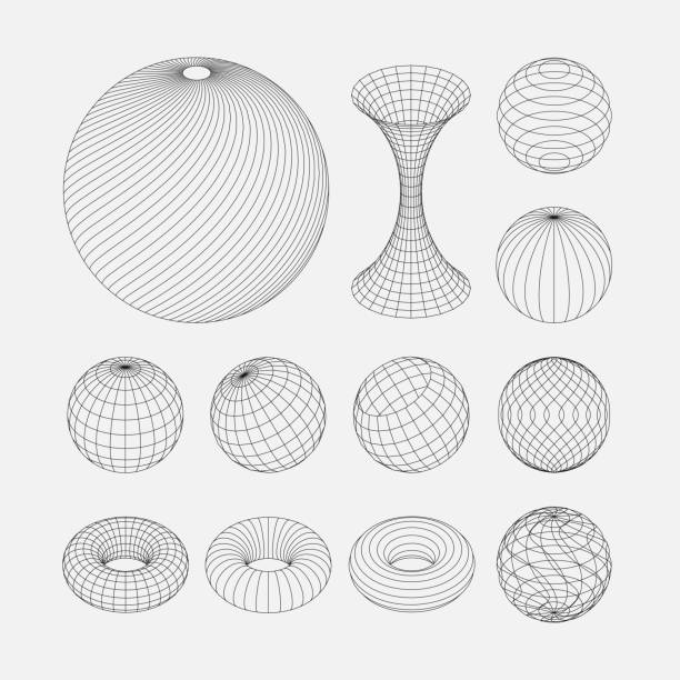 Spiral, circular rotating lines. Wireframe sphere objects. Network line, HUD design sphere. Spiral, circular rotating lines. Wireframe sphere objects. Network line, HUD design sphere. longitude stock illustrations