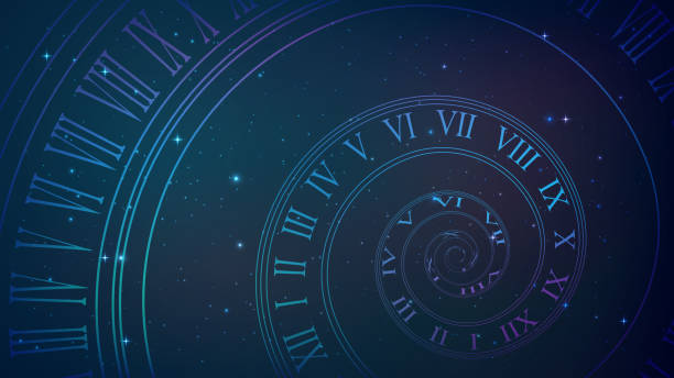Spiral clock. Time, eternity metaphor Background with spiral dial, clock in space. Time, eternity, universe metaphor eternity stock illustrations