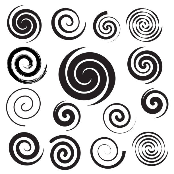 спиральная коллекция. набор простых спиралей. набор черных элементов для дизайна - закрученный stock illustrations