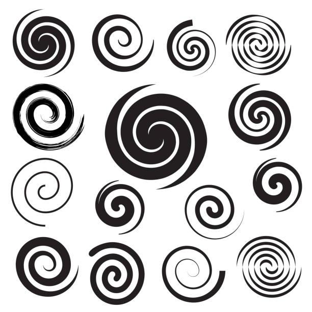 spiral collection. set of simple spirals. set of black elements for design - spiral stock illustrations