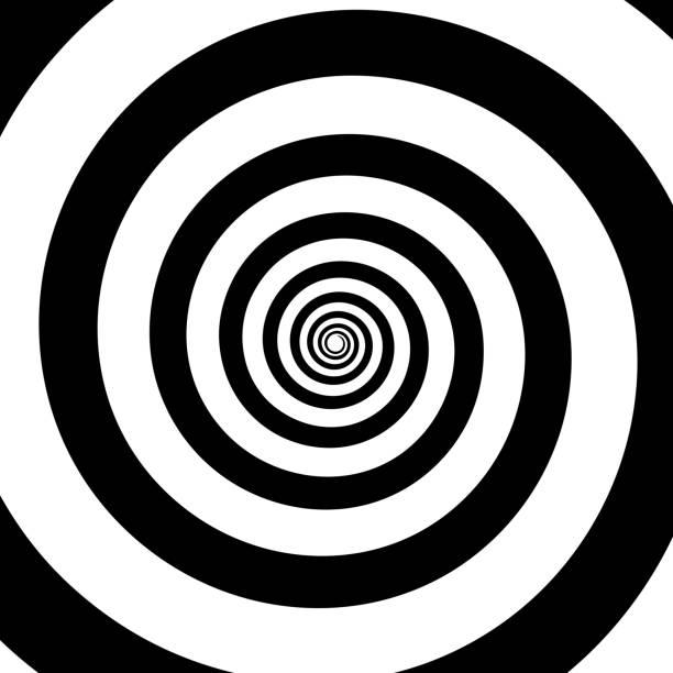 spirale farbe schwarz auf dem weißen hintergrund. - höhenangst stock-grafiken, -clipart, -cartoons und -symbole
