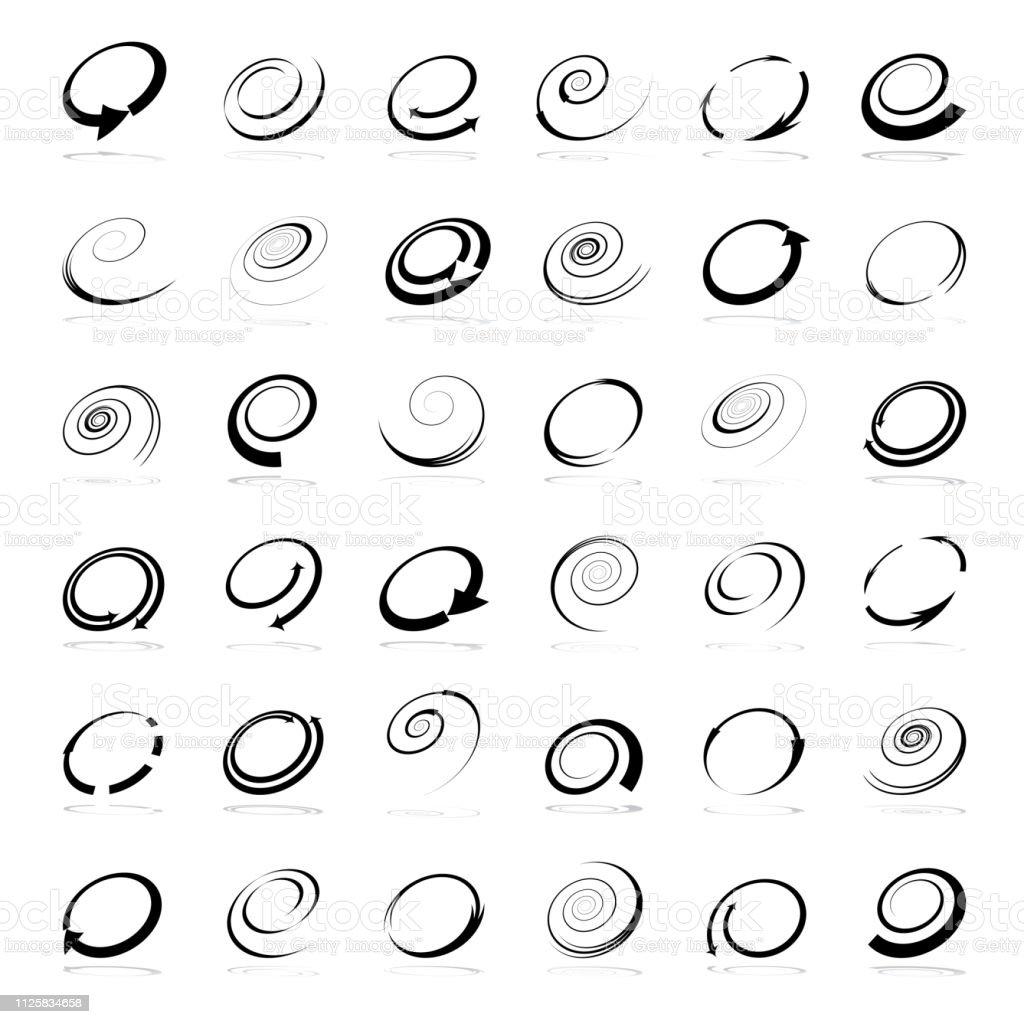 Spiraal ontwerpelementen. Abstracte pictogrammen instellen. - Royalty-free Abstract vectorkunst