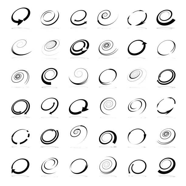 stockillustraties, clipart, cartoons en iconen met spiraal ontwerpelementen. abstracte pictogrammen instellen. - ronddraaien