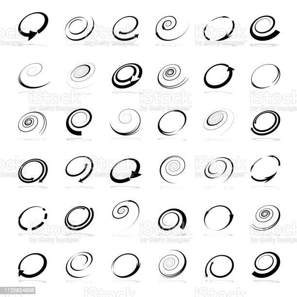 Spiraal Ontwerpelementen Abstracte Pictogrammen Instellen Stockvectorkunst en meer beelden van Abstract