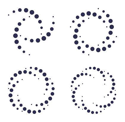 Spiral dot design element symbols.