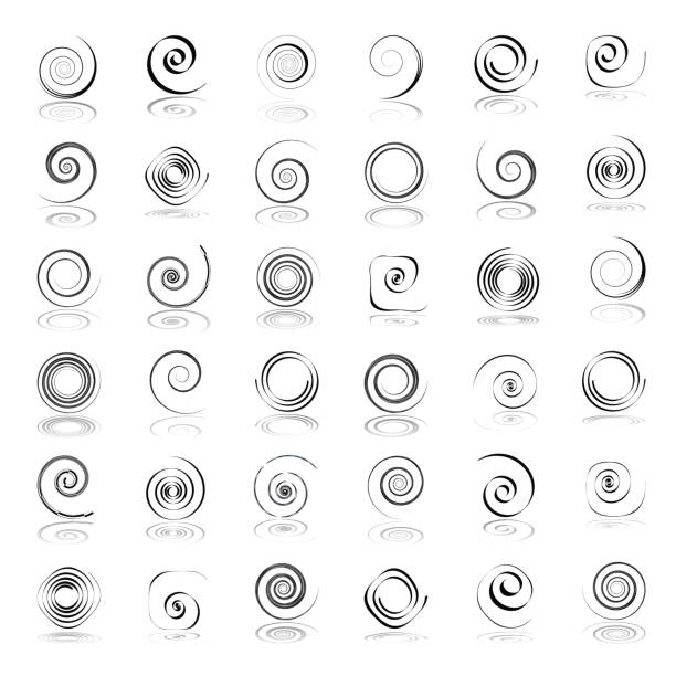 spiral design elements. - spiral stock illustrations, clip art, cartoons, & icons