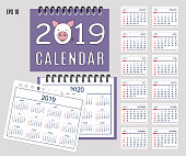Spiral desk calendar year 2019, 2020 with pig muzzle