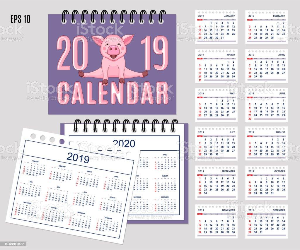 Calendario Rosa 2020.Vetores De Espiral De Turismo Calendario Ano 2019 2020 Com