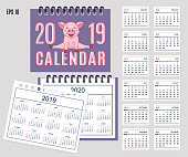 Spiral desk calendar year 2019, 2020 with pink piggy