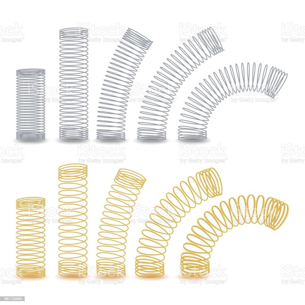 Spirale Biegsamen Draht Metallspirale Frühling Vector Illustration ...