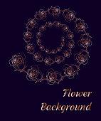 Spiral floral background for template, postcard, greeting card invitation card. Vector illustration.