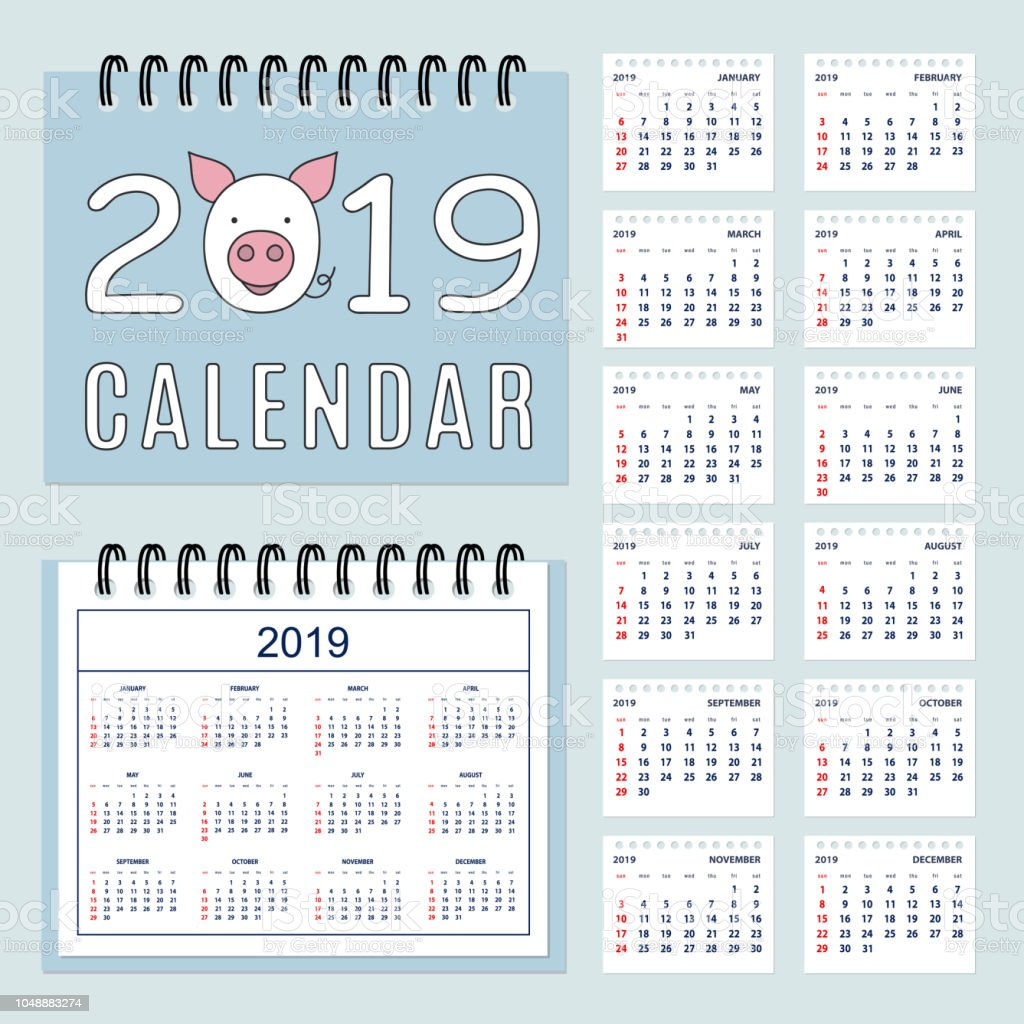 Calendario Completo.Ilustracion De Calendario Completo De Espiral 2019 Con