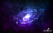 Spiral galaxy on space background. Realistic abstract galaxy with color nebula. Cosmic backdrop with stardust and shining stars. Bright colorful milky way for banner, poster, advertising. Vector illustration.