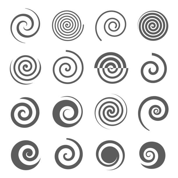 Spiral, helix icons set isolated on white. Curl, curve stripe, twirl pictograms. Spiral, helix line and bold black silhouette icons set isolated on white. Curl, curve stripe, twirl pictograms collection. Vortex, whirlpool, volute, swirl vector elements for infographic, web. spiral stock illustrations