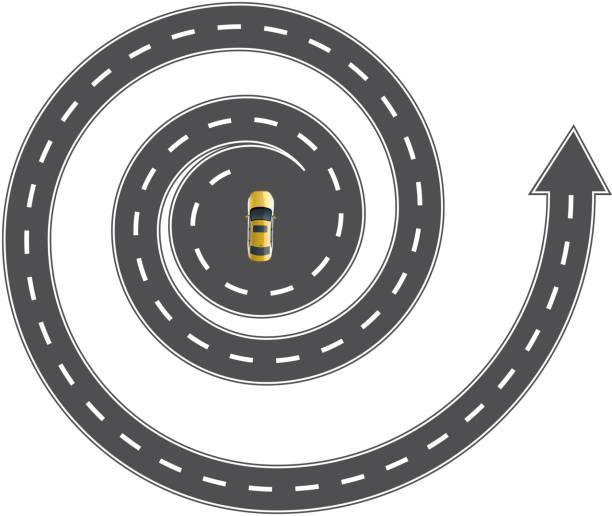 ilustrações de stock, clip art, desenhos animados e ícones de estrada em espiral - driveway, no people