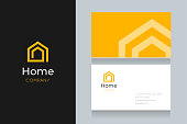 Spiral house logo with business card template. Vector graphic design elements editable for company and entrepreneur.