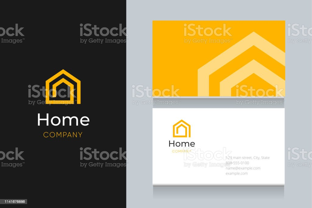Spiral house logo with business card template. vector art illustration