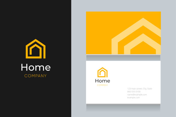 spiral house logo with business card template. - business cards templates stock illustrations