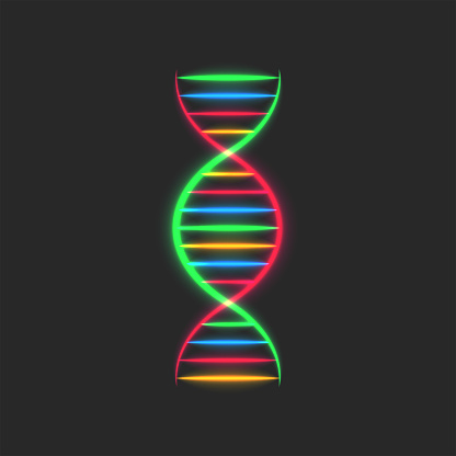 DNA spiral logo, deoxyribonucleic acid genetic instructions symbol, glowing neon thin multicolored lines