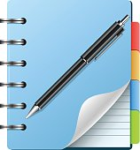 Spiral notebook and pen,eps 10