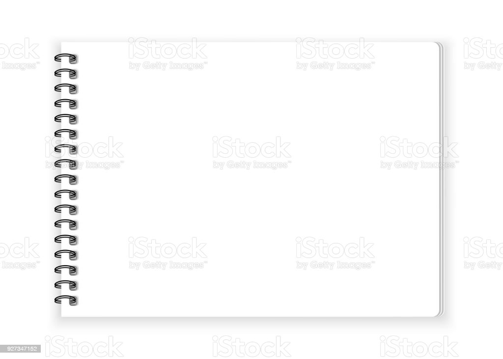 Spiral notebook paper on white background vector vector art illustration