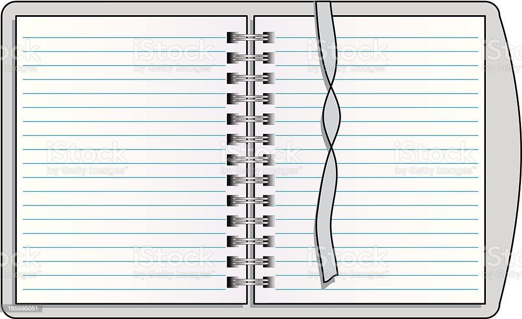 Spiral Notebook with Bookmark, Vector Illustration vector art illustration