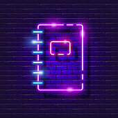 istock Spiral notepad neon sign. Stationery glowing icon. Vector illustration for design. School concept. 1326608554