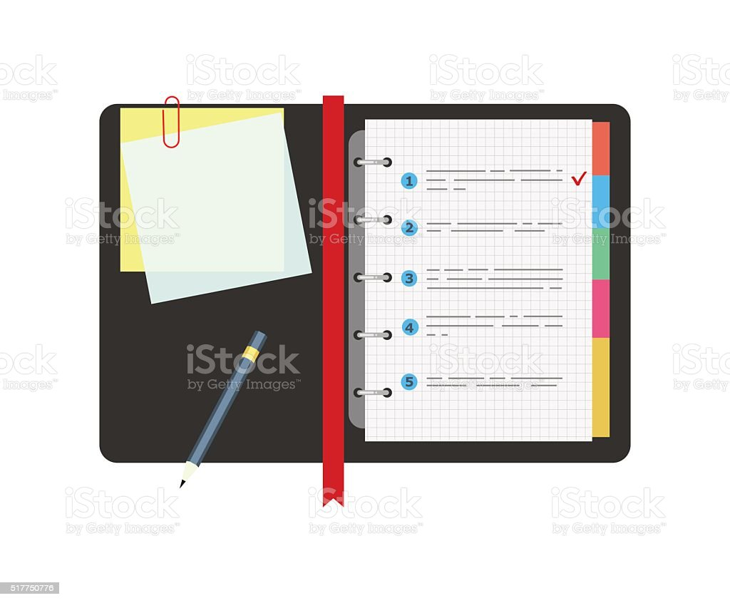 Spiral notepad notebook with to do list and pencil. Flat vector art illustration