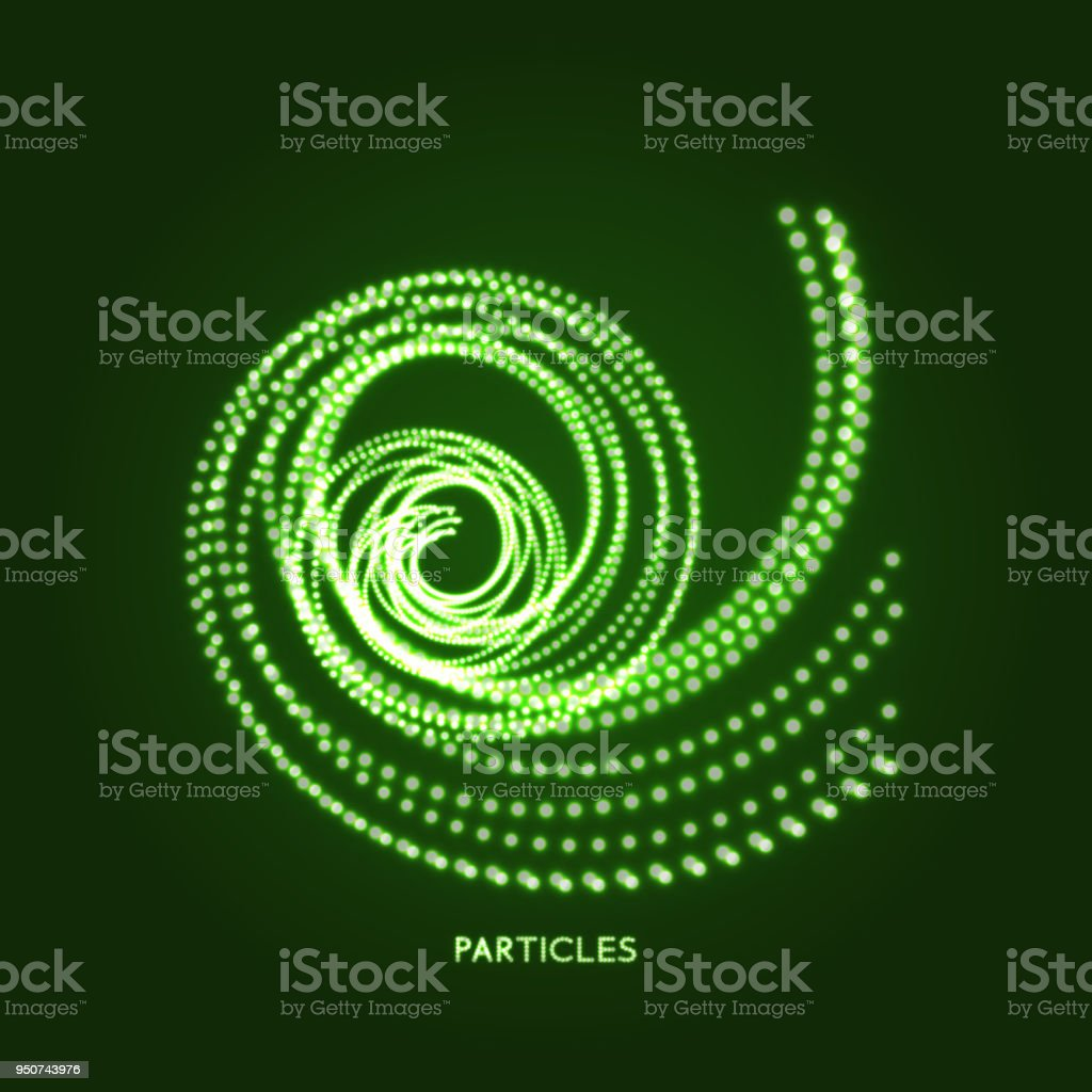Spiral. Object with dots. Molecular grid. 3d technology style with particle. Vector illustration. Futuristic connection structure for chemistry and science. vector art illustration