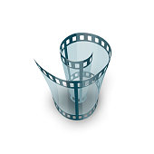 Spiral of film strip. Graphic concept for your design illustration