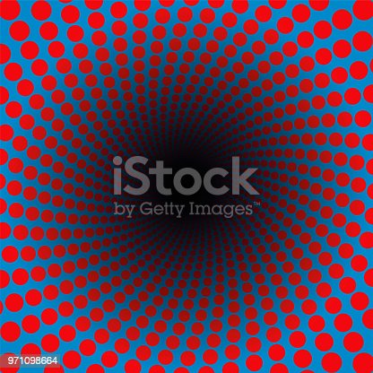 istock Spiral pattern of red dots in a blue tunnel with black center - hypnotic, vibrant, psychedelic, whirring, pulsating - twisted circular fractal background illustration. 971098664