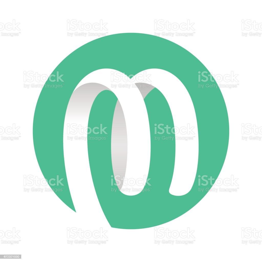 Spiral Ribbon Logo green circle vector art illustration