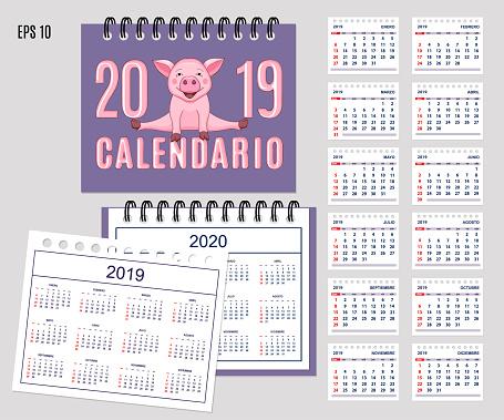 Calendario 1968.Spiral Spanish Calendar Year 2019 2020 With Cute Piggy Stock