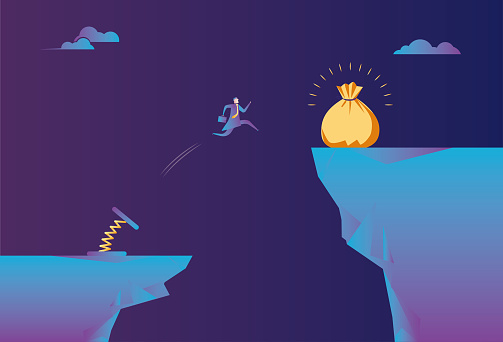 Spiral spring helps business men jump on the cliff to gain wealth