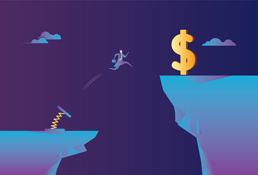 Spiral spring helps business men jump on the cliff to get dollars