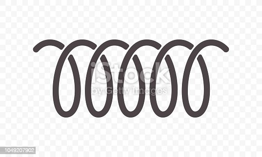 Spiral spring vector icon of swirl line or curved wire cord pattern