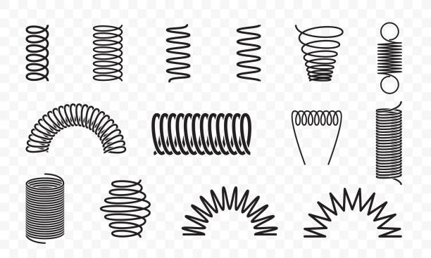 illustrazioni stock, clip art, cartoni animati e icone di tendenza di spiral springs different shapes and types vector icons of swirl line or curved wire cords, shock absorbers or equipment parts on transparent background - molla
